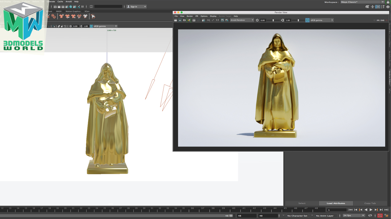 how-to-create-gold-metal-shader-using-arnold-in-maya-2018-hdri-lighting1