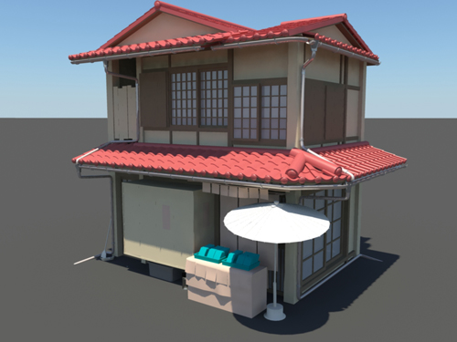Japanese house style 3 3d model 3d models world House 3d model