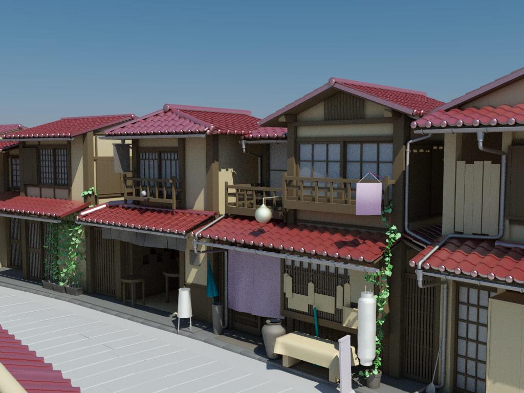 japanese house neighbourhood 3d model 11 - Home 3d Model