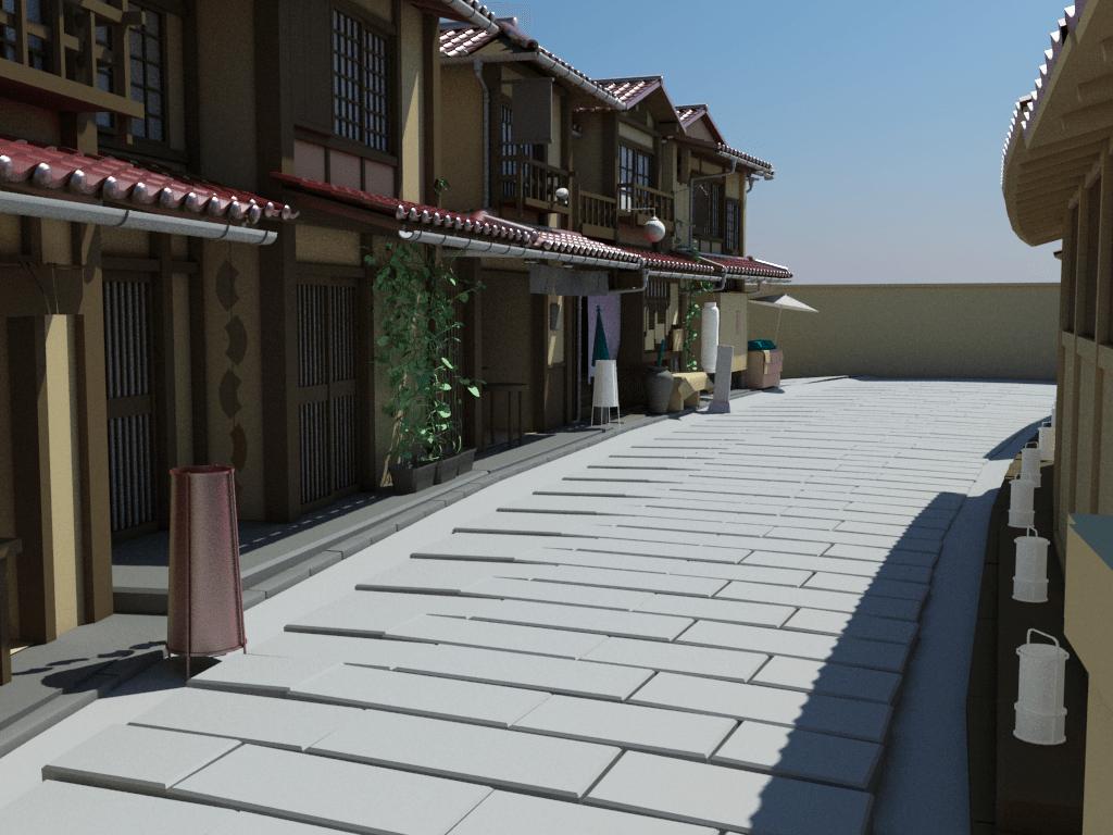 Japanese House Neighbourhood 3D Model - 3D Models World