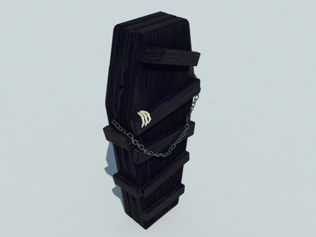 Coffin Old Wood 3D Model - Realtime - 3D Models World