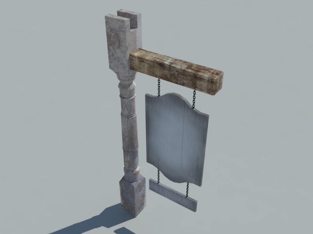 Sign Hunted Old Wood 3D Model - 3D Models World