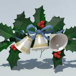 Christmas Bells with Holly Leaves 3D Model – Realtime