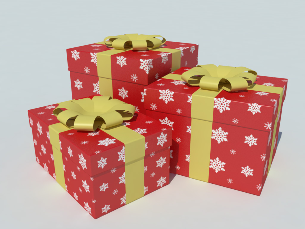 gift boxes 3d model christmas decoration 1