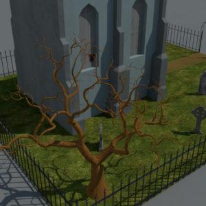 haunted-graveyard-church-3d-model-3