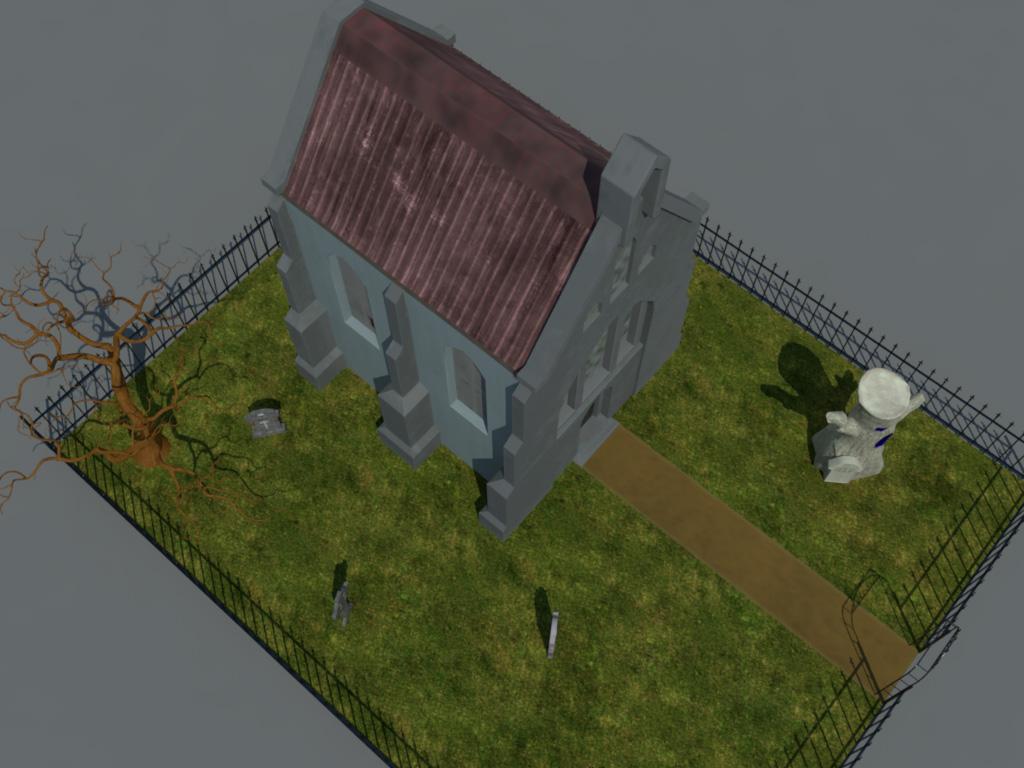 Haunted Graveyard Church 3D Model - Realtime - 3D Models World