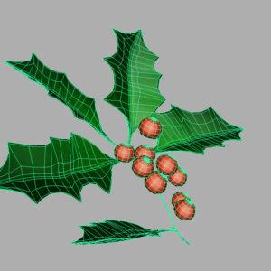 holly-leaves-berries-3d-model-5