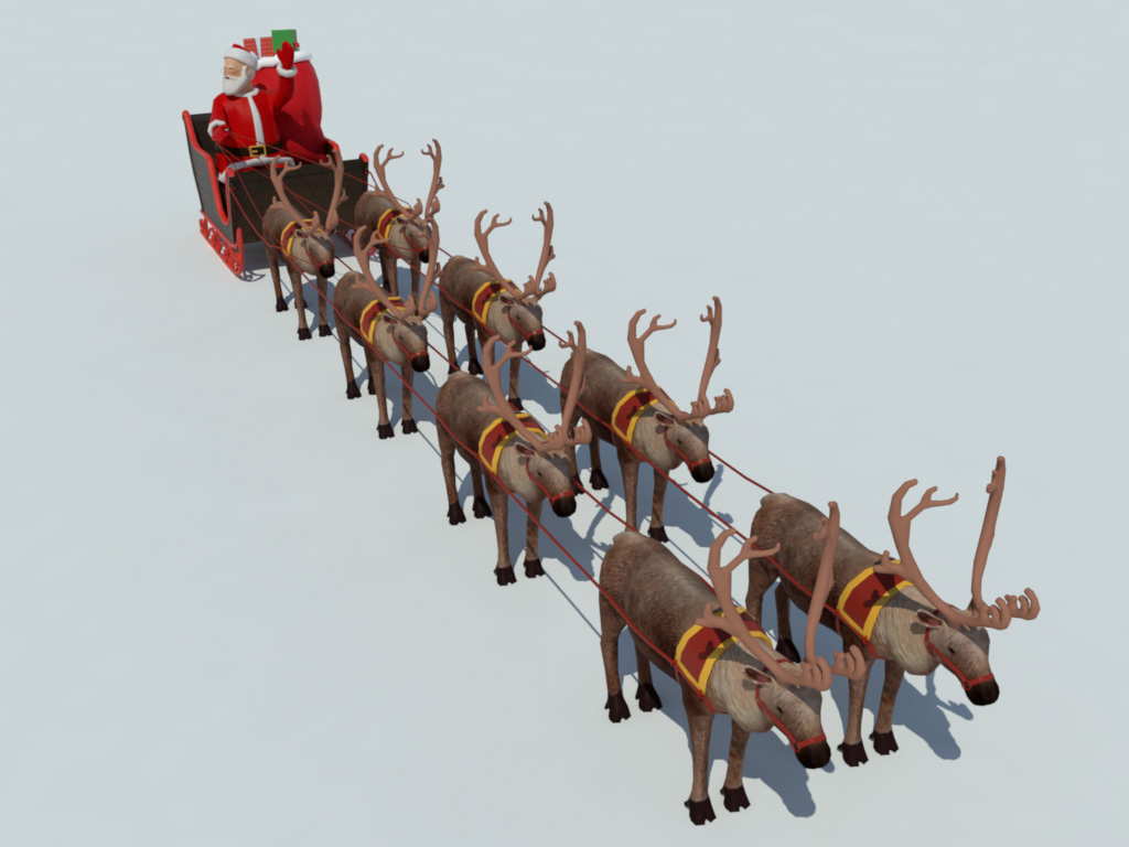 santa sleigh reindeer 3d model realtime 3d models world