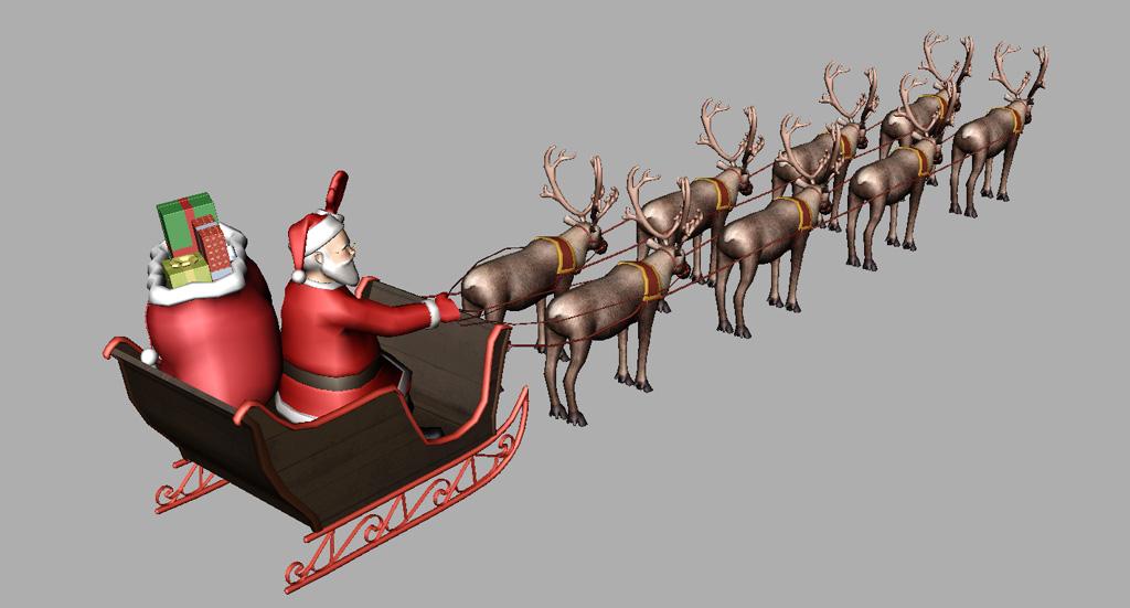 santa sleigh reindeer 3d model realtime 3d models world