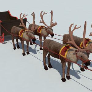 Sleigh Reindeer 3D Model – Realtime