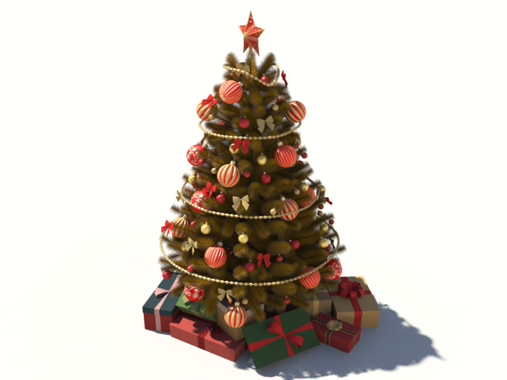 Christmas Tree Golden Decoration 3D Model