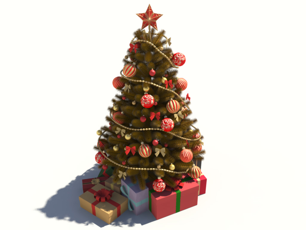Christmas tree golden decoration 3d model 3d models world for 3d model decoration