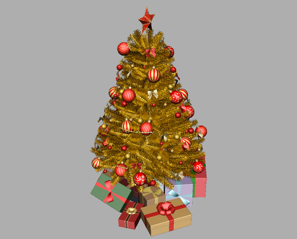 Christmas tree golden decoration 3d model 3d models world for 3d decoration games