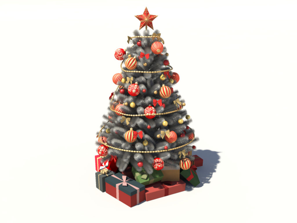 Christmas tree white decoration 3d model 3d models world for Decoration 3d games