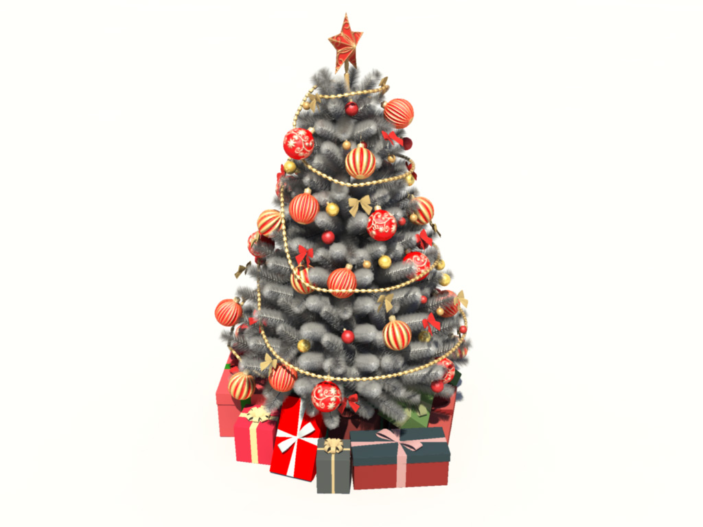Christmas tree white decoration 3d model 3d models world for 3d model decoration