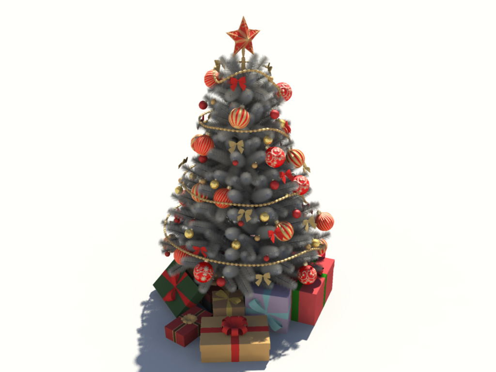 Christmas Tree White Decoration 3D Model