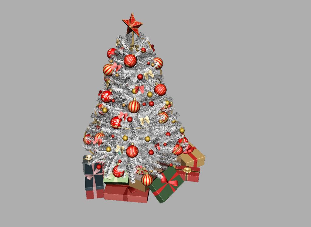 Christmas Tree White Decoration 3D Model