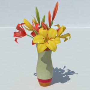 Lily Vase Orange Yellow 3D Model – Realtime