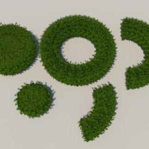 Round Hedge Plants 3D Model