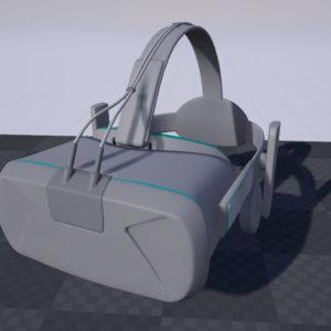 VR Headset 3D Model Grey Blue - Realtime - 3D Models World
