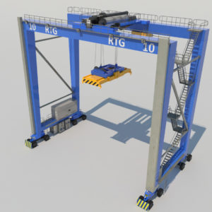 Rubber Tired Gantry Crane RTG Crane 3D Model – Realtime