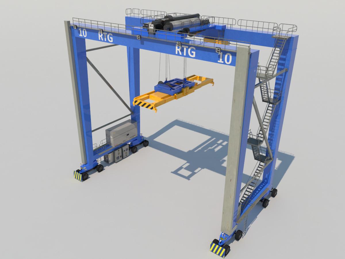 Rubber Tired Gantry Crane RTG Crane 3D Model - Realtime - 3D Models World