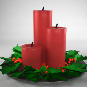 Christmas Candle Holly Leaves 3D Model