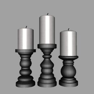 short-candlesticks-black-3d-model-12