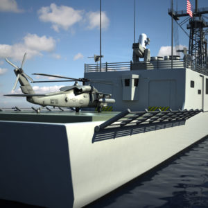 USS Oliver Hazard Perry and UH 60M Black Hawk 3D Models Bundle