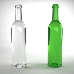 Wine Bottle Green 3D Model