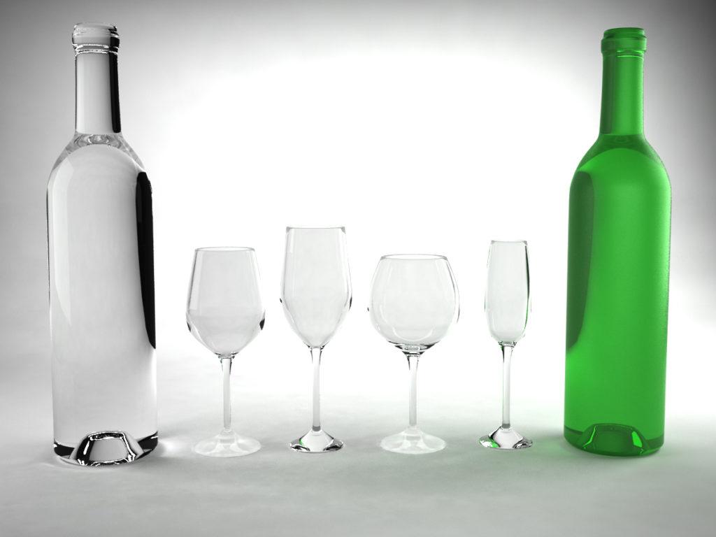 Wine bottles and wine glasses 3d model bundle 3d models for Glass bottles for wine