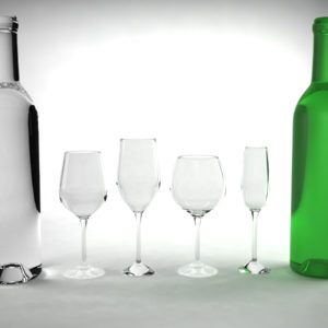 Wine Bottles and Wine Glasses 3D Model Bundle