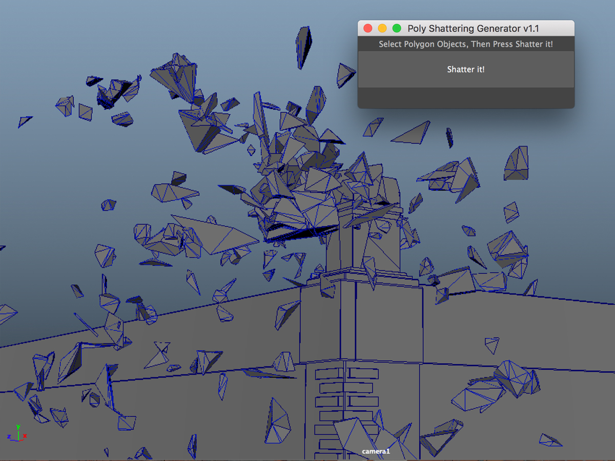 Poly Shattering Generator - Maya Shattering Tool - 3D Models World