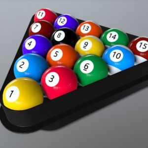 Pool Balls and Rack PBR 3D Model