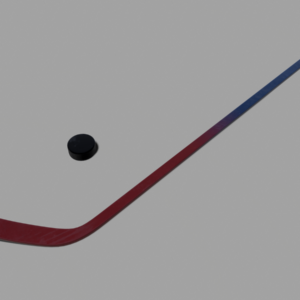 Hockey Stick and Puck PBR 3D Model