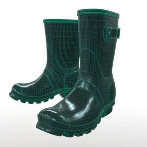 mid-calf-rain-boots-green-pbr-3d-model-physically-based-rendering-wireframe-1