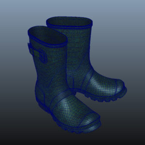 mid-calf-rain-boots-green-pbr-3d-model-physically-based-rendering-wireframe-11
