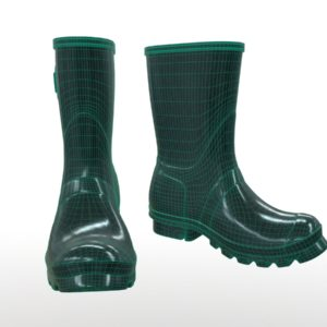 mid-calf-rain-boots-green-pbr-3d-model-physically-based-rendering-wireframe-2