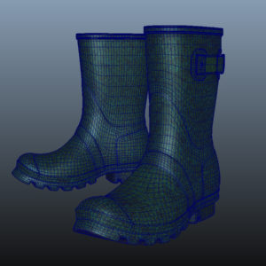 mid-calf-rain-boots-green-pbr-3d-model-physically-based-rendering-wireframe-7