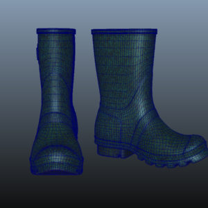 mid-calf-rain-boots-green-pbr-3d-model-physically-based-rendering-wireframe-8