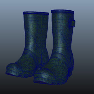 mid-calf-rain-boots-green-pbr-3d-model-physically-based-rendering-wireframe-9