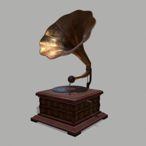Retro Trumpet Horn Record Player PBR 3D Model