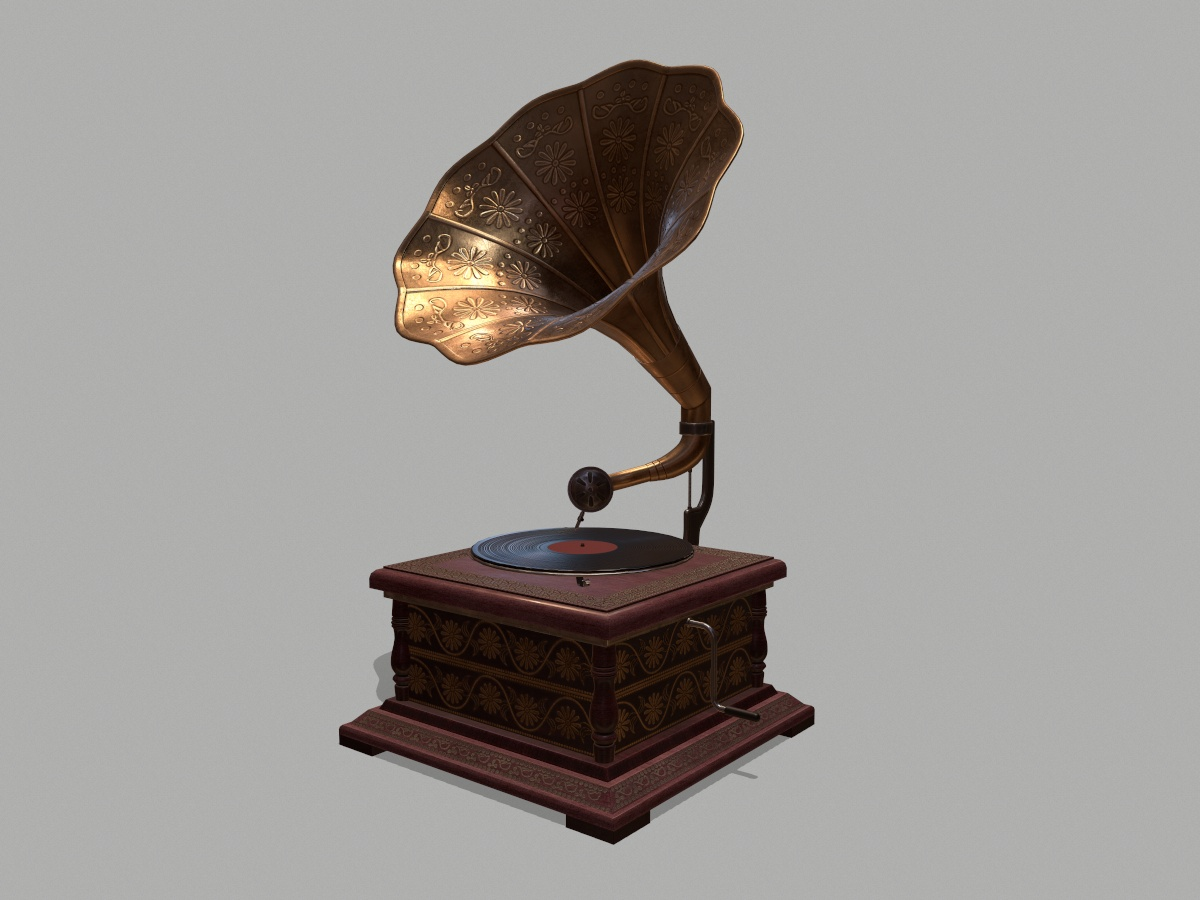 retro-trumpet-horn_record-player-pbr-3d-model-physically-based-rendering-1