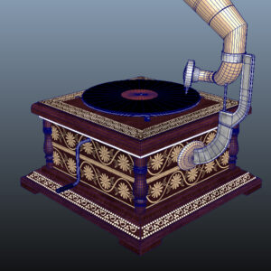 retro-trumpet-horn_record-player-pbr-3d-model-physically-based-rendering-wireframe-13
