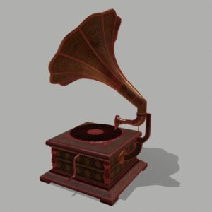 retro-trumpet-horn_record-player-pbr-3d-model-physically-based-rendering-wireframe-2