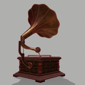 retro-trumpet-horn_record-player-pbr-3d-model-physically-based-rendering-wireframe-3