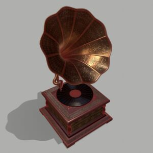 retro-trumpet-horn_record-player-pbr-3d-model-physically-based-rendering-wireframe-4