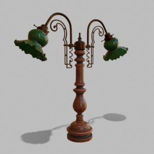 Antique Green Glass Table Lamp PBR 3D Model